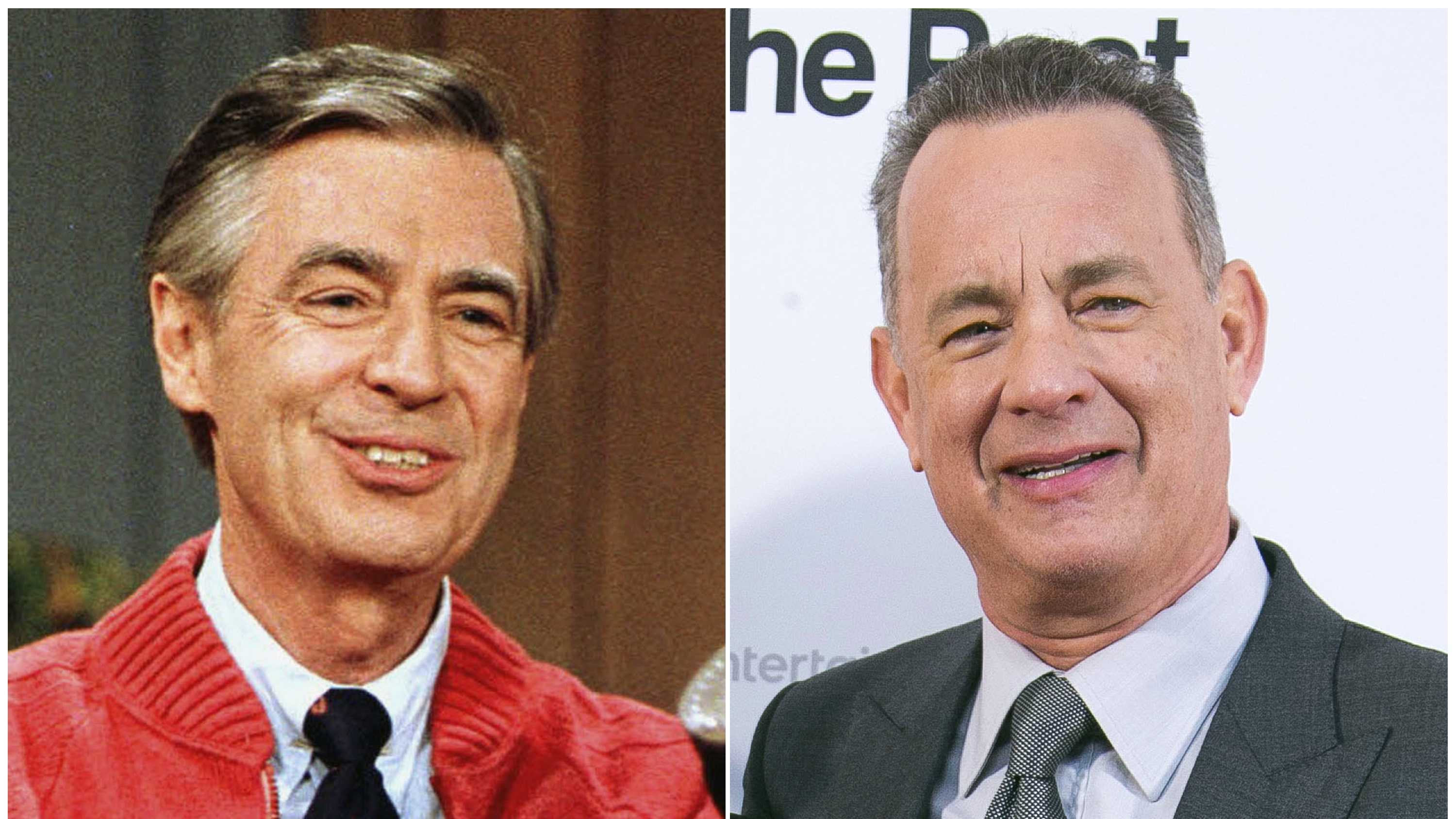 """This combination photo shows Fred Rogers as he rehearses the opening of his PBS show """"Mister Rogers' Neighborhood"""" in Pittsburgh on June 28, 1989, left, and Tom Hanks at the London premiere of the film 'The Post ' on Jan. 10, 2018."""