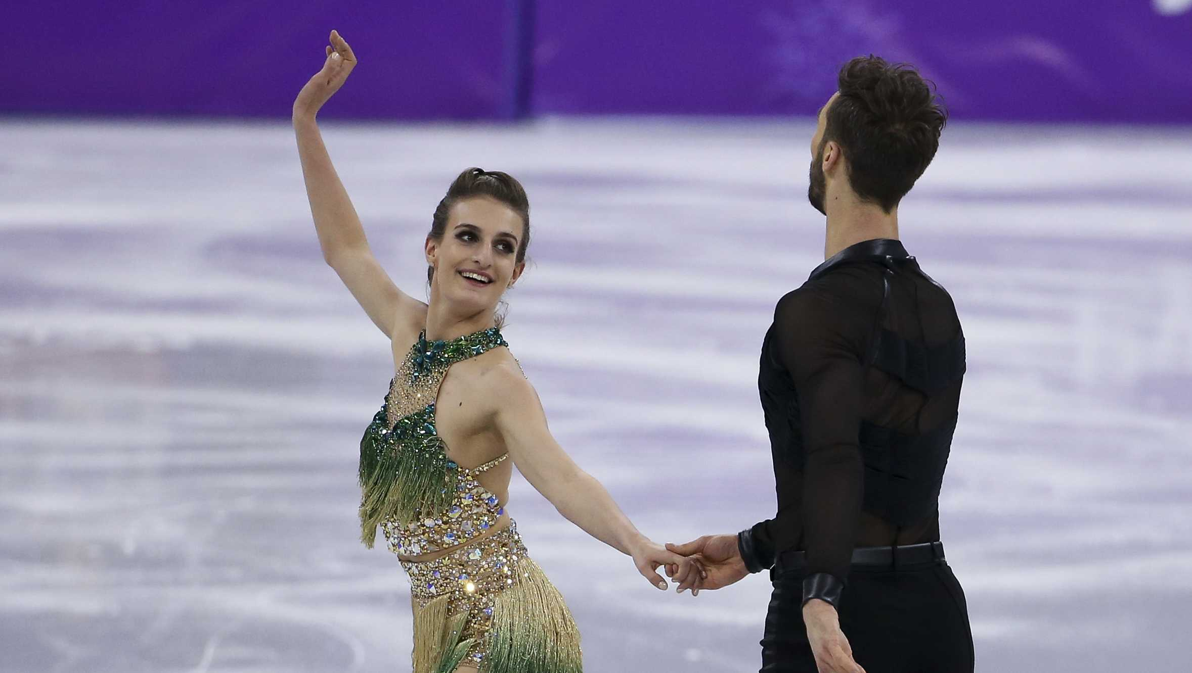 Gabriella Papadakis and Guillaume Cizeron of France during the Figure Skating Ice Dance Short Dance program on day ten of the PyeongChang 2018 Winter Olympic Games at Gangneung Ice Arena on February 19, 2018 in Gangneung, South Korea.
