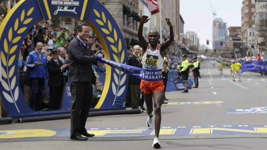 Geoffrey Kirui wins the 121st Boston Marathon on April 17, 2016.