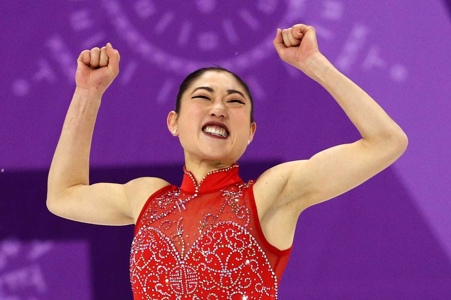Mirai Nagasu of the United States of America celebrates after competing in the Figure Skating Team Event Ladie's Single Free Skating on day three of the Pyeong Chang 2018 Winter Olympic Games at Gangneung Ice Arena
