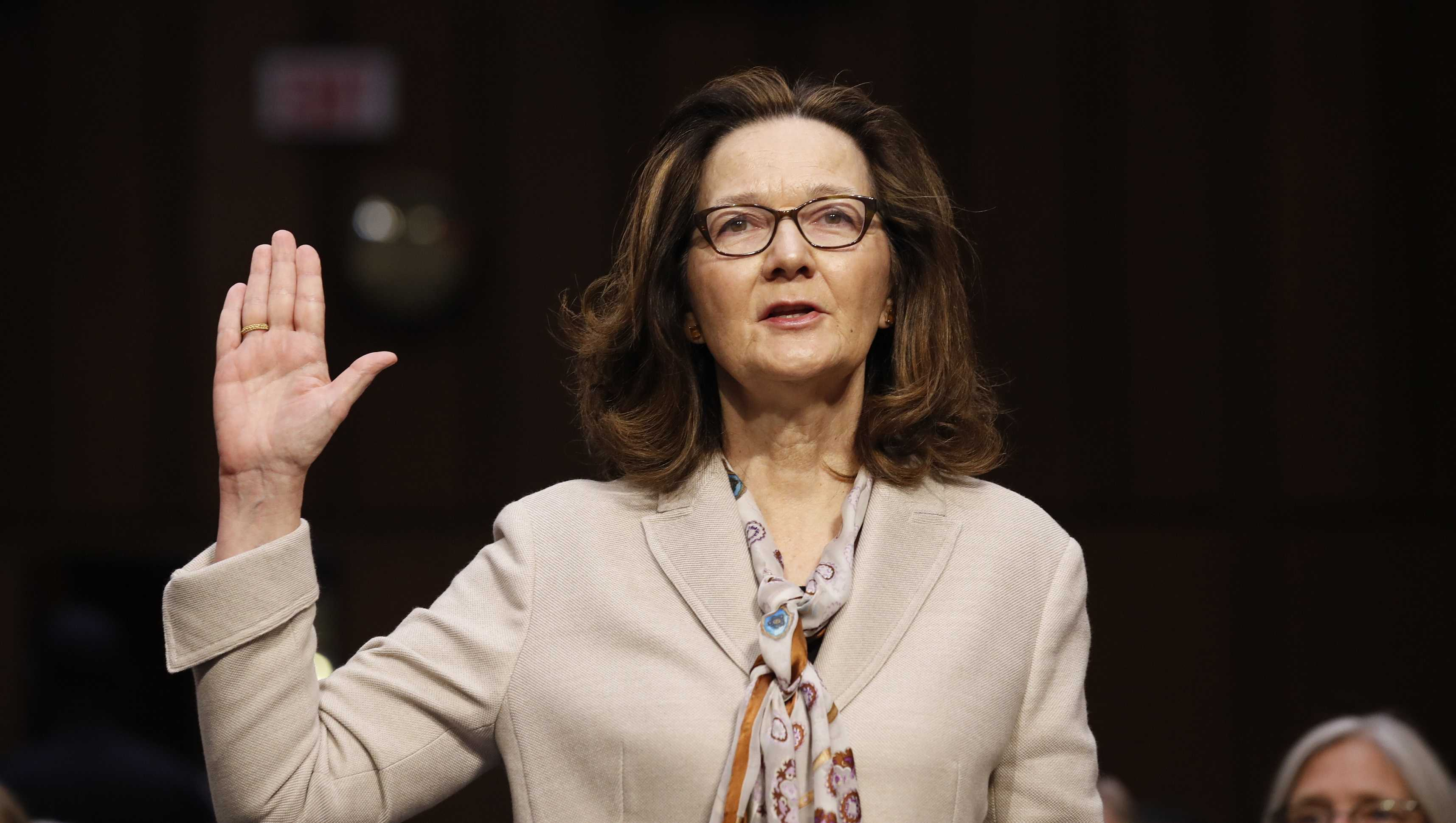 CIA nominee Gina Haspel is sworn in during a confirmation hearing of the Senate Intelligence Committee on Capitol Hill, Wednesday, May 9, 2018 in Washington.