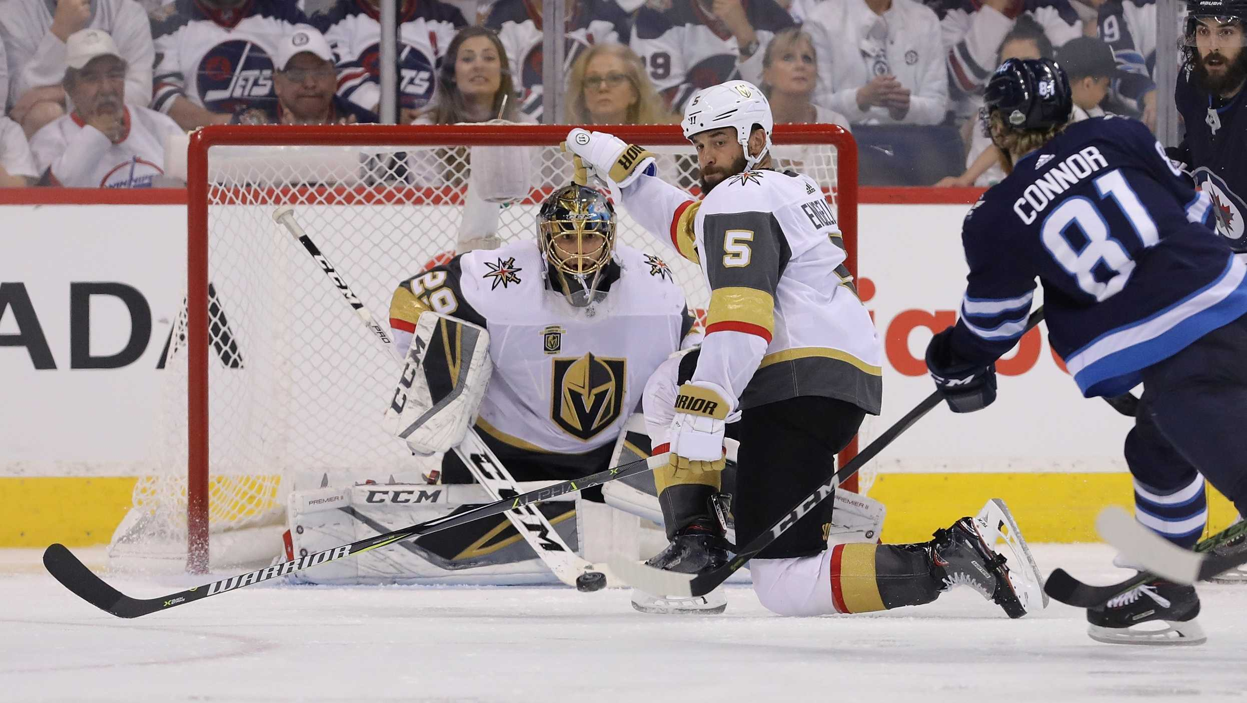 Marc-Andre Fleury #29 of the Vegas Golden Knights tends goal during the third period against the Winnipeg Jets in Game Five of the Western Conference Finals during the 2018 NHL Stanley Cup Playoffs at Bell MTS Place on May 20, 2018 in Winnipeg, Canada.