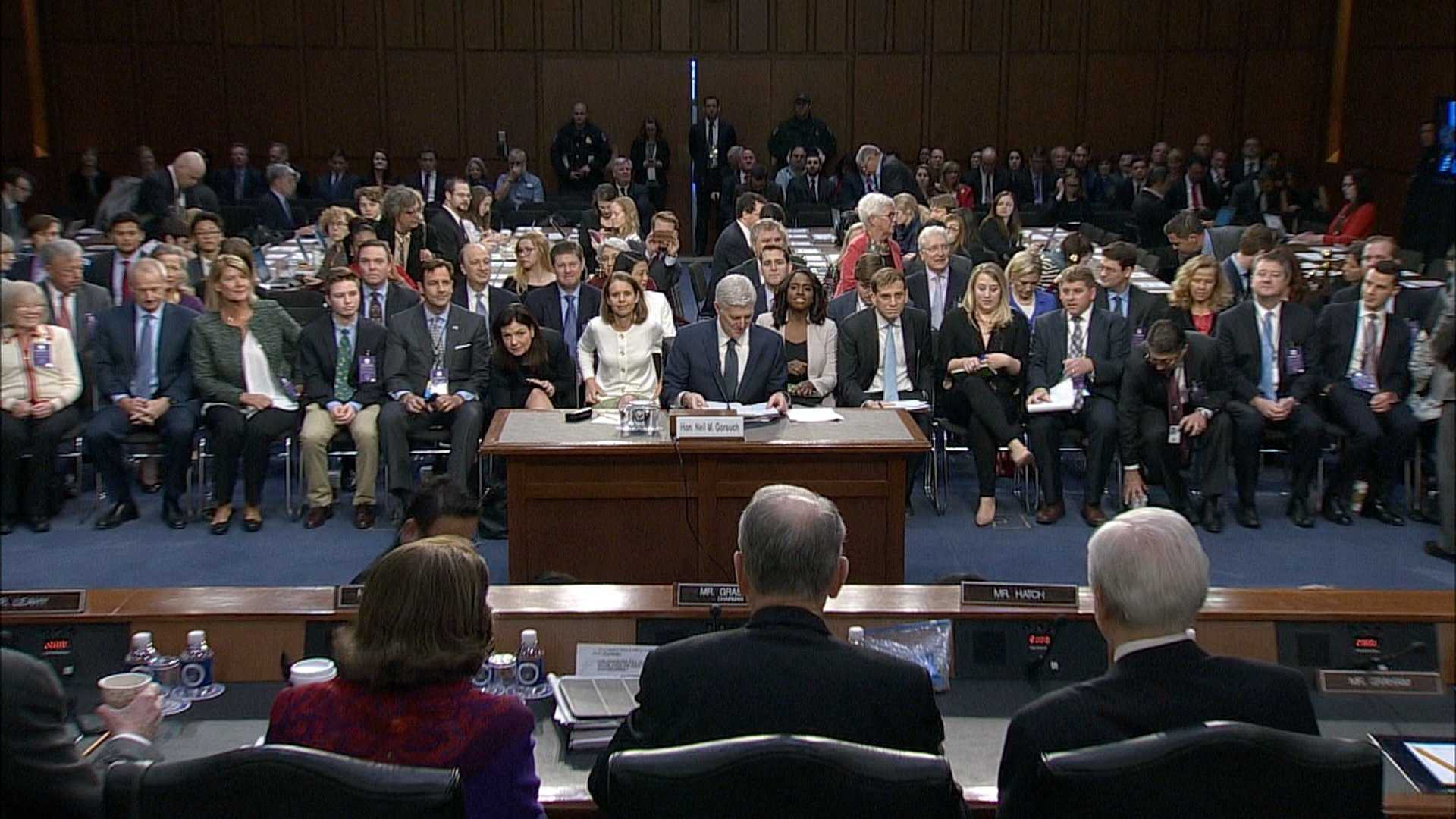 Neil Gorsuch is seen here being questioned in the Senate Judiciary Committee on March 22, 2017.