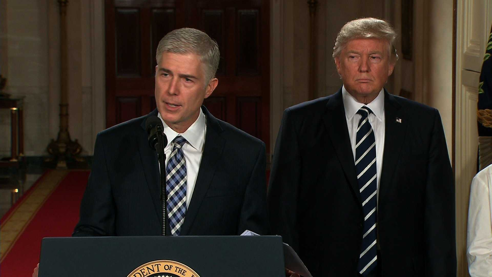 Neil Gorsuch speaks after President Donald Trump nominated him for the Supreme Court on Jan. 31, 2017.