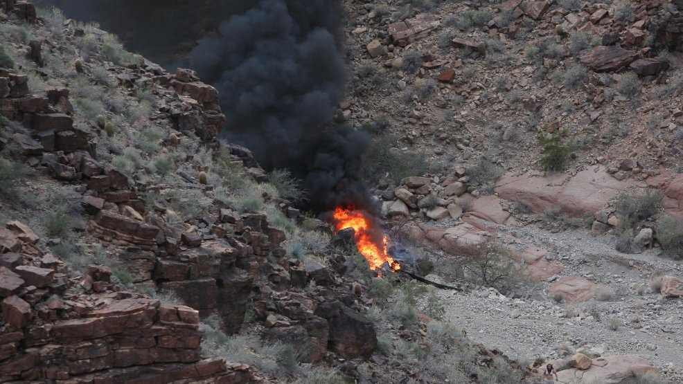 A helicopter crashed Feb. 10 in the Grand Canyon.