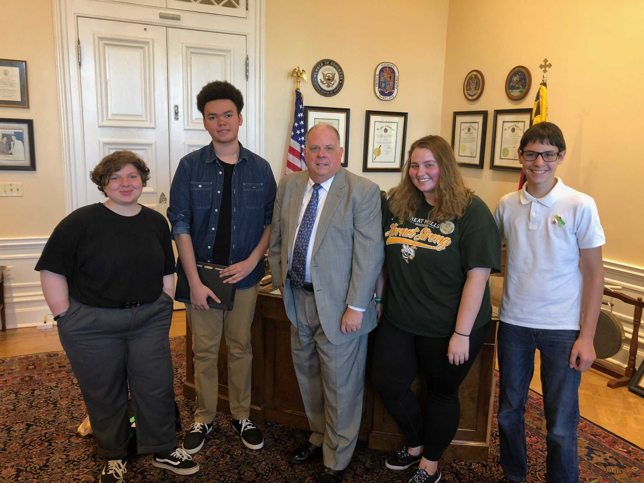 Great Mills students meet with governor, plan to visit Parkland students