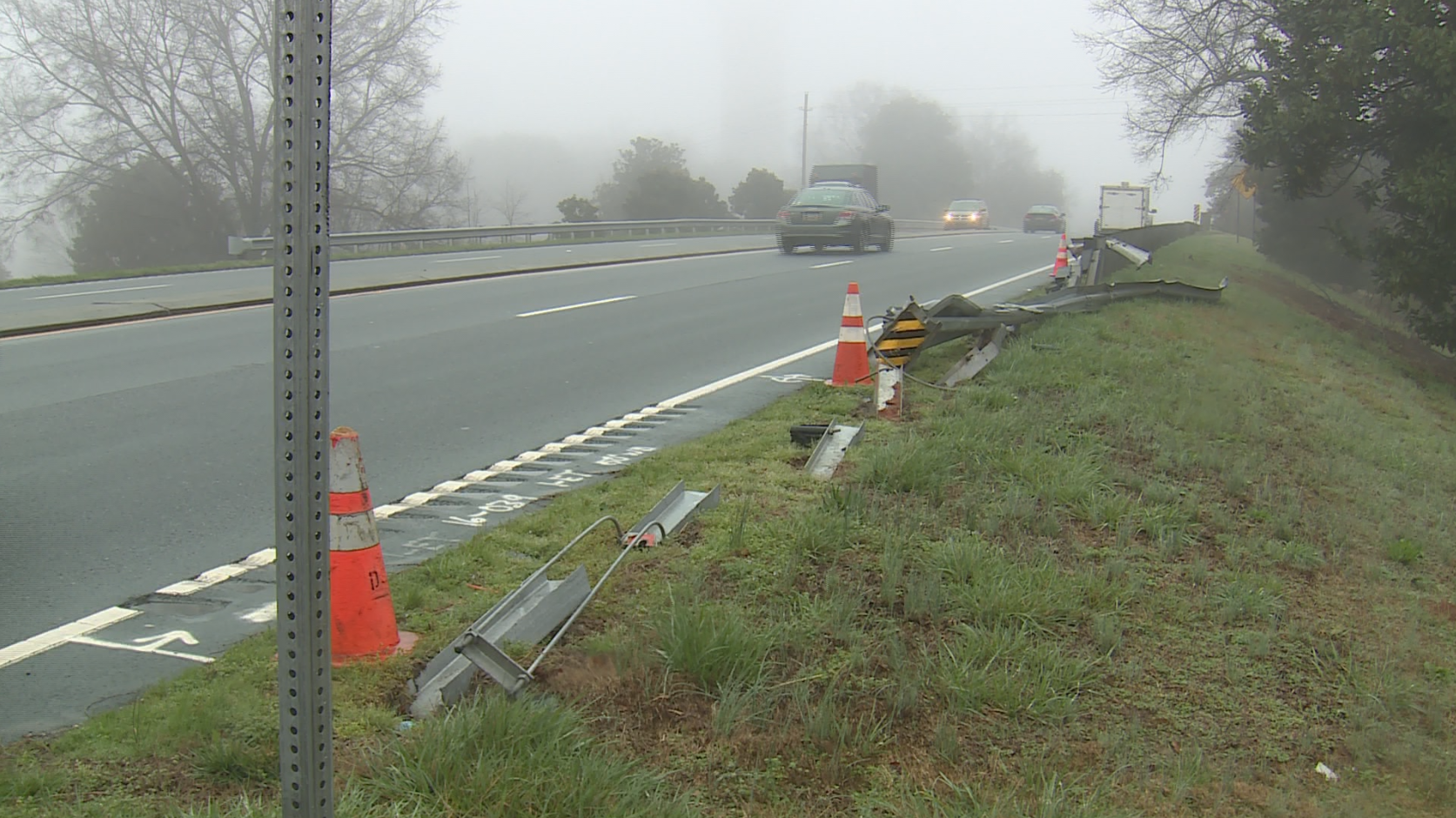 Damaged guardrail in Easley
