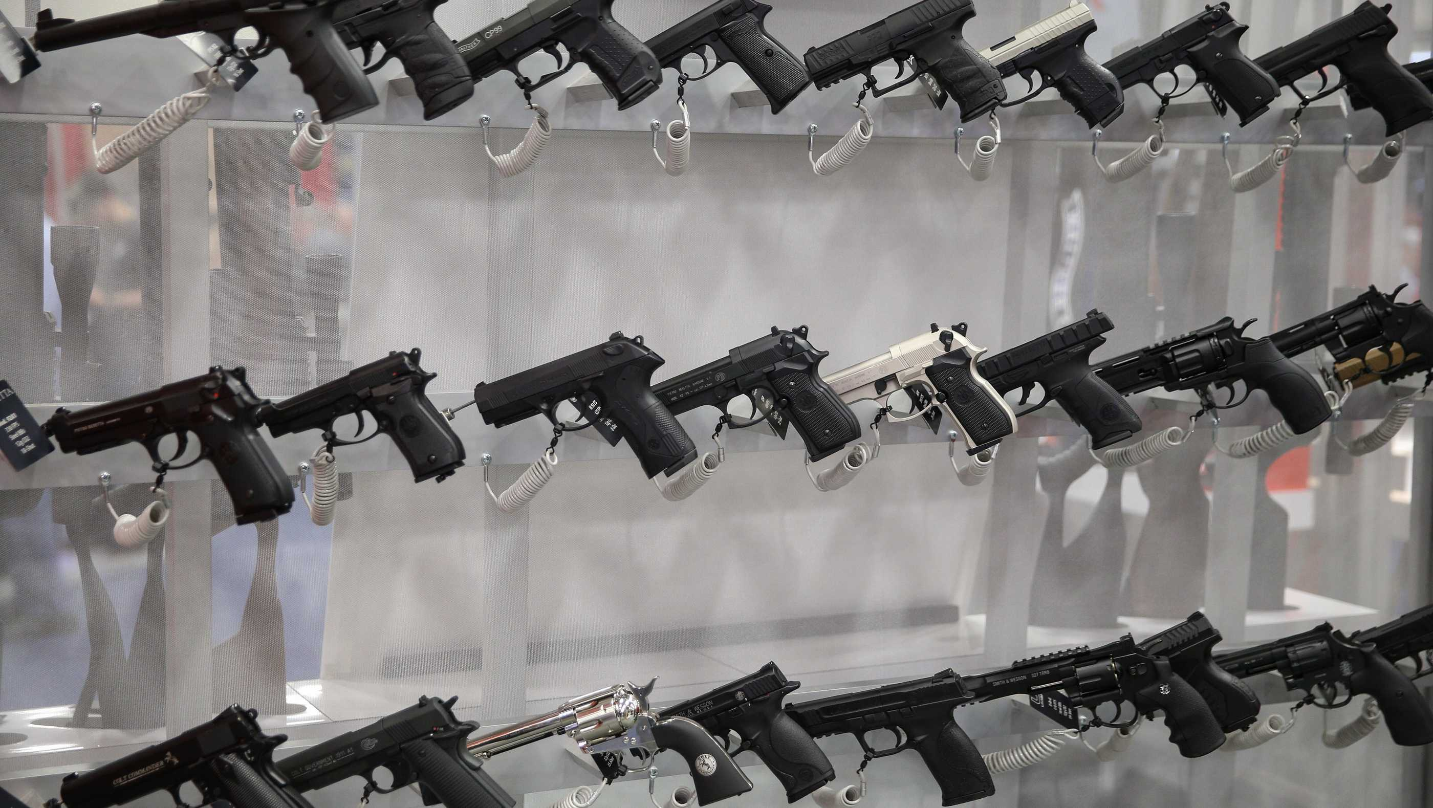 Firearms are pictured in an exhibit hall at the Kay Bailey Hutchison Convention Center during the NRA's annual convention on May 6, 2018 in Dallas, Texas.