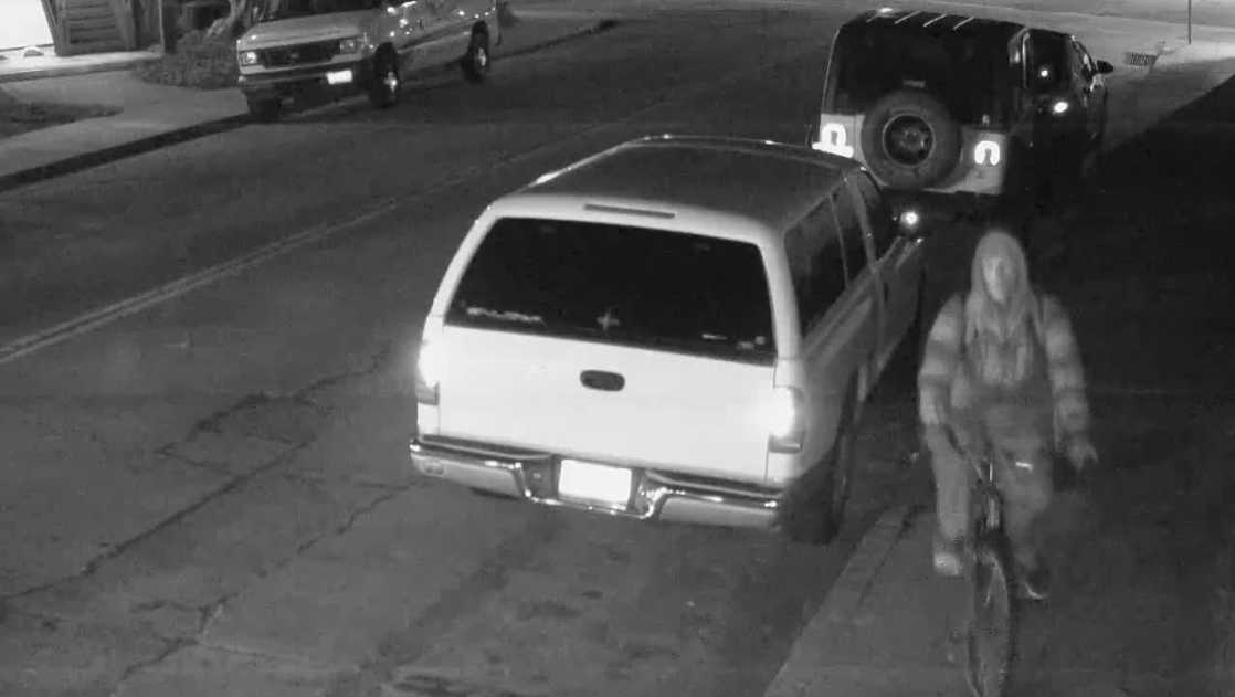 Investigators are looking for this bicyclist who stole a duffel bag full of guns from a Jeep, the Santa Cruz Police Department said.
