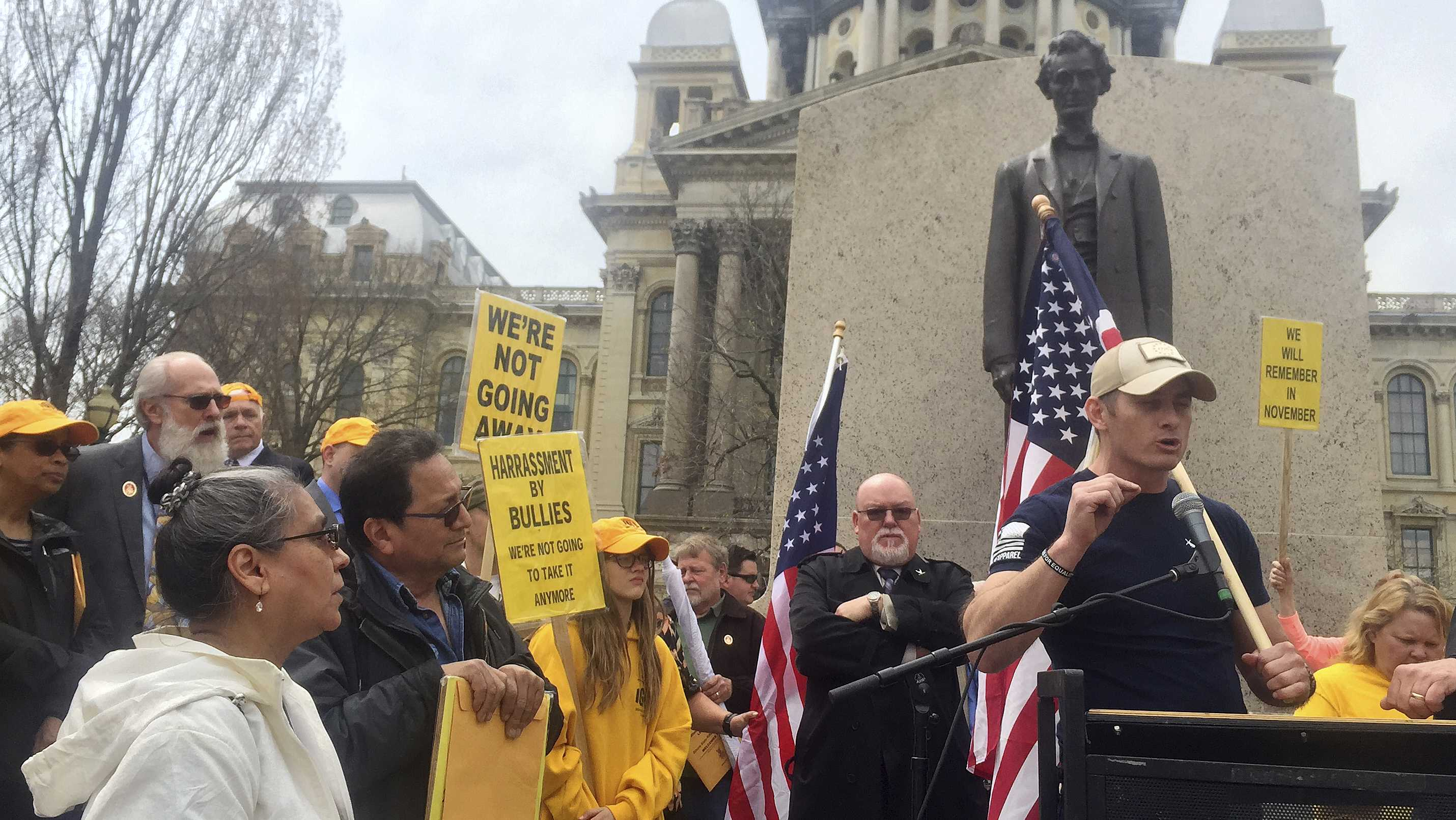 "Libertarian candidate for governor Grayson ""Kash"" Jackson of Antioch tells a crowd of gun-rights advocates he will fight for the ""freedom to protect ourselves against a tyrannical government"" Wednesday, April 25, 2018, in Springfield."