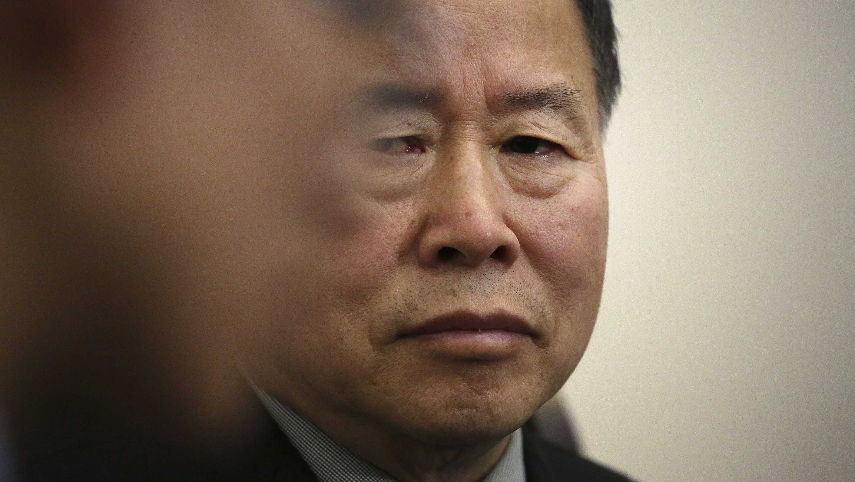 "Han Song Ryol, North Korea's vice foreign minister, listens to a translator during an interview with The Associated Press on Friday, April 14, 2017, in Pyongyang, North Korea. Han Song Ryol said the situation on the Korean Peninsula is now in a ""vicious cycle."""