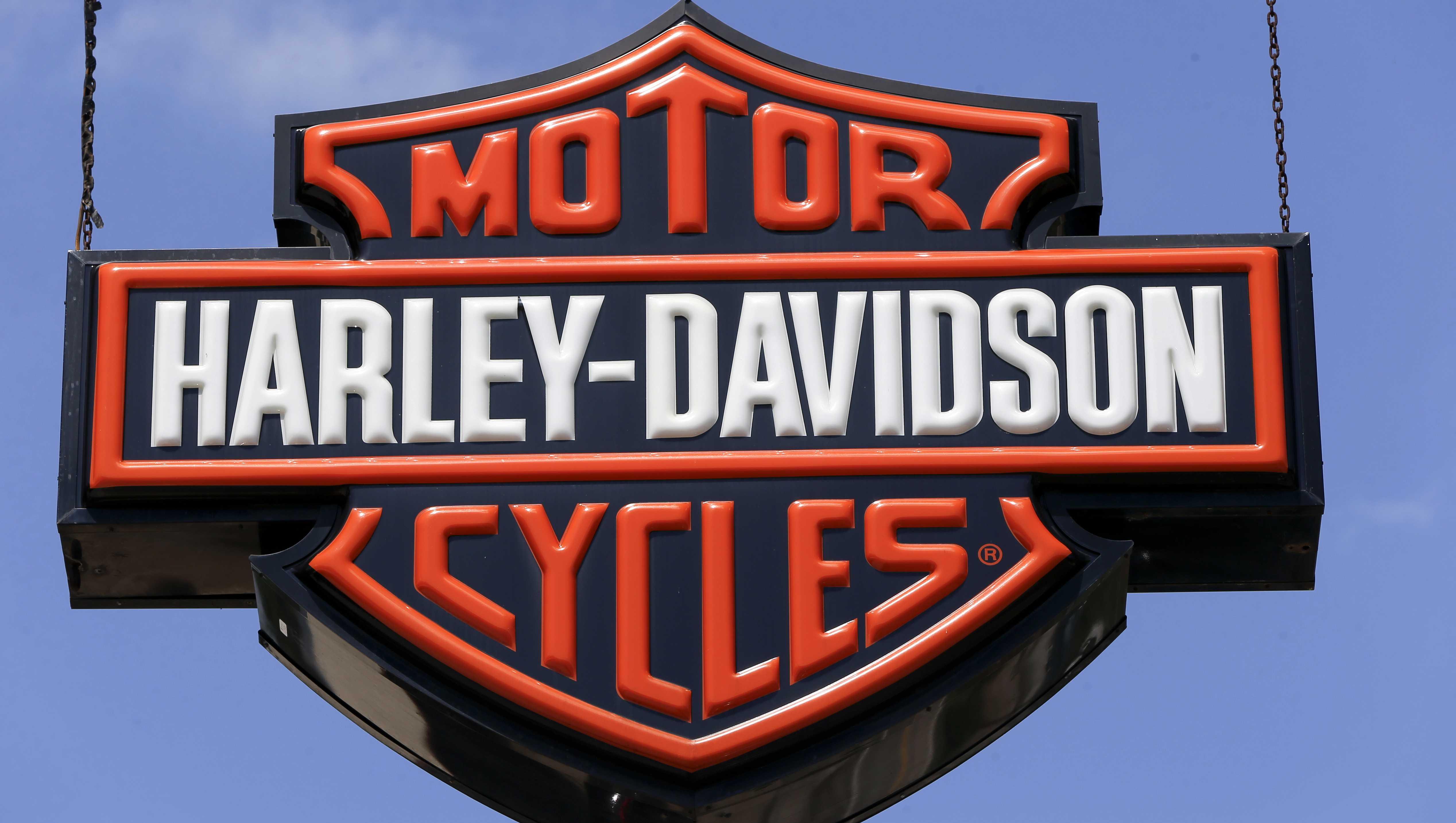 This April 26, 2017 photo shows dealership signs at a Harley-Davidson dealership in Glenshaw, Pa.