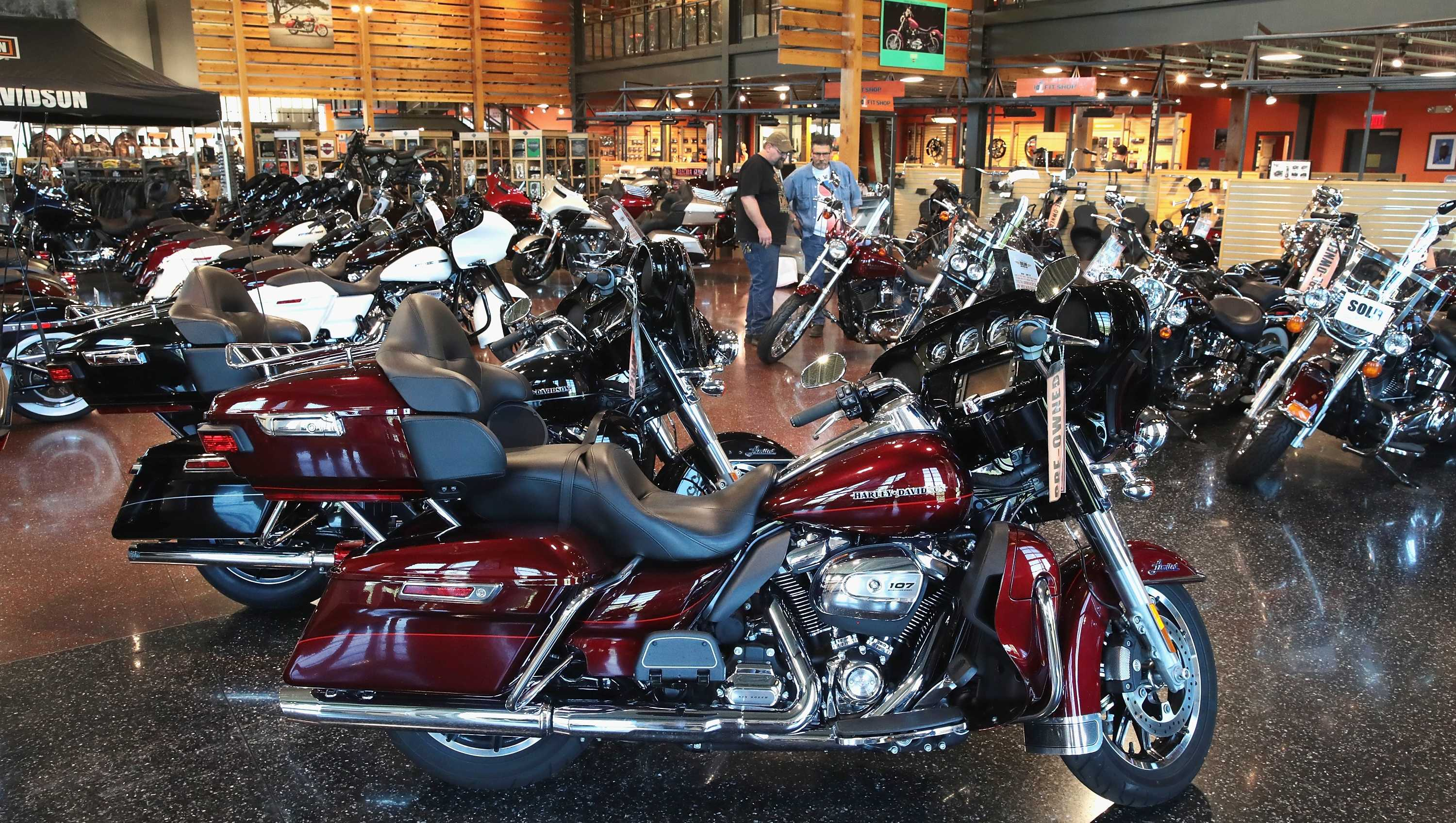 Harley-Davidson motorcycles are offered for sale at the Uke's Harley-Davidson dealership on June 1, 2018 in Kenosha, Wisconsin.