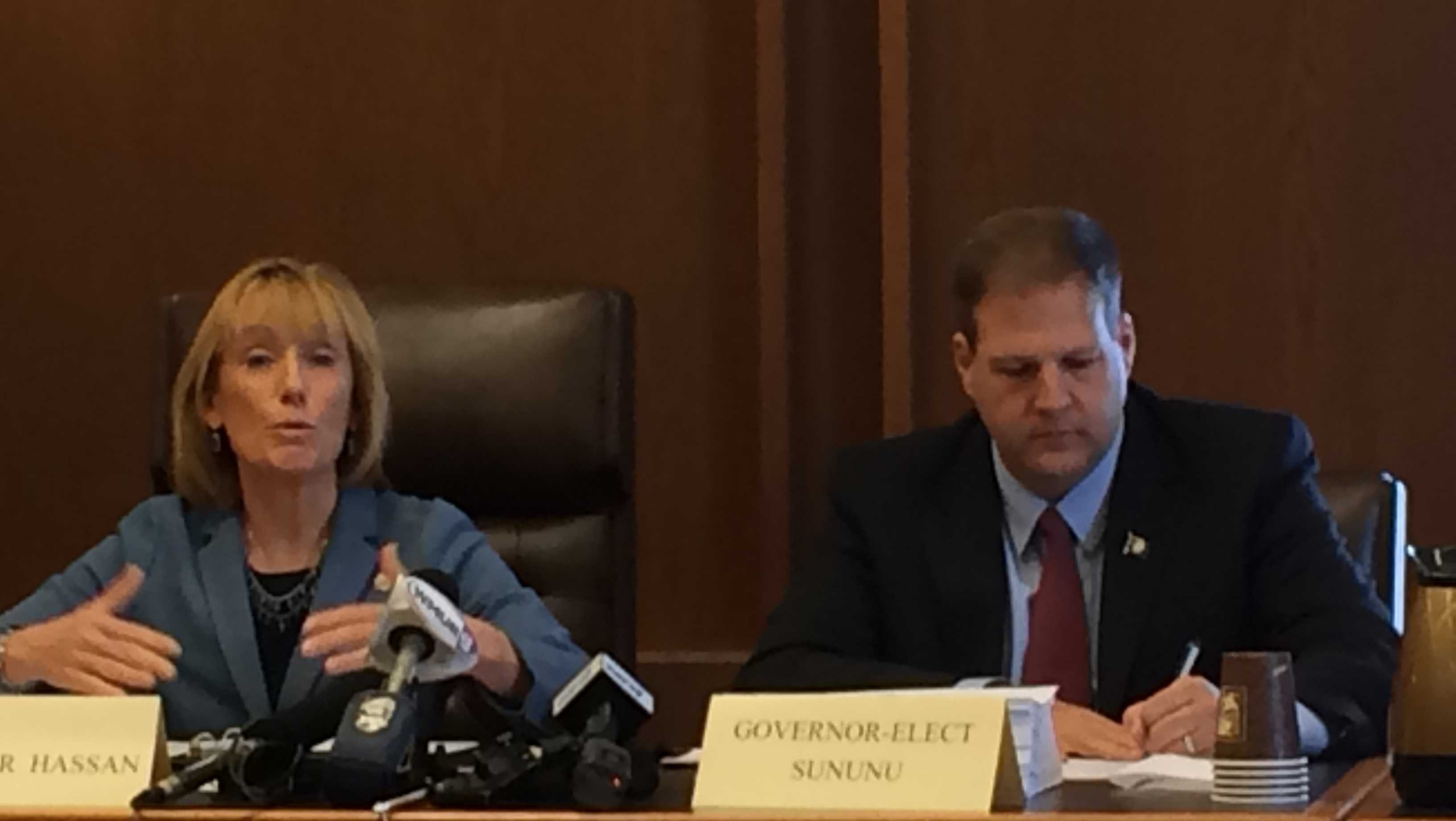 Sen. Maggie Hassan and Gov. Chris Sununu, seen here prior to assuming their respective offices, have opposite views on the fitness of Betsy DeVos to serve as U.S. Secretary of Education.