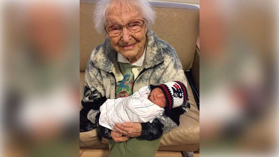 Hazel Fletcher with her great-great-grandson, John Jr.