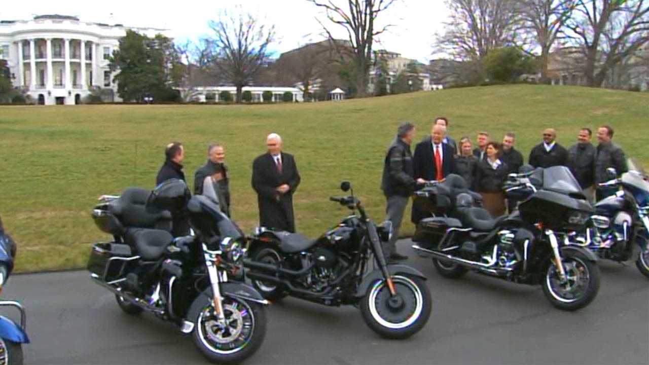 Harley-Davidson officials visit the White House in February 2017.