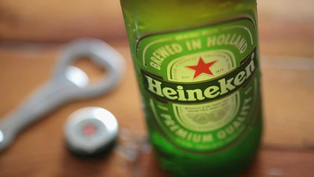 Heineken beer is pictured on May 4, 2017 in Chicago, Illinois.