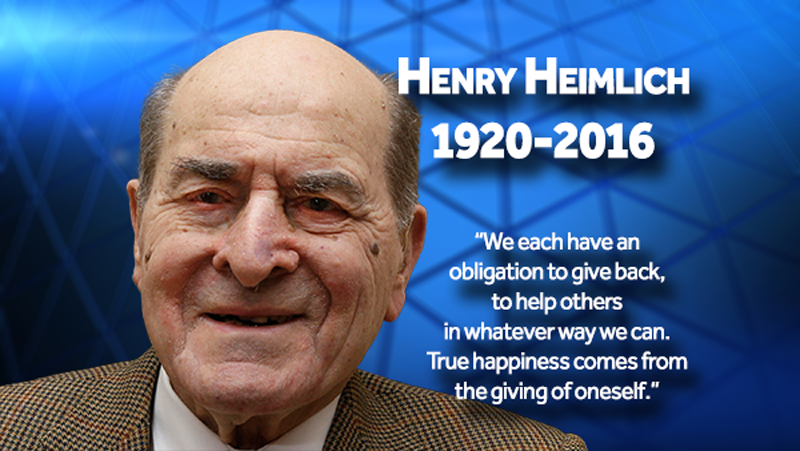 henry heimlich Dr henry heimlich died early saturday at christ hospital in cincinnati at the age  of 96 after complications from a heart attack, his family said in.