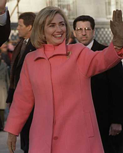 Hillary Clinton during the inauguration parade down Pennsylvannia Avenue on January 20, 1997.