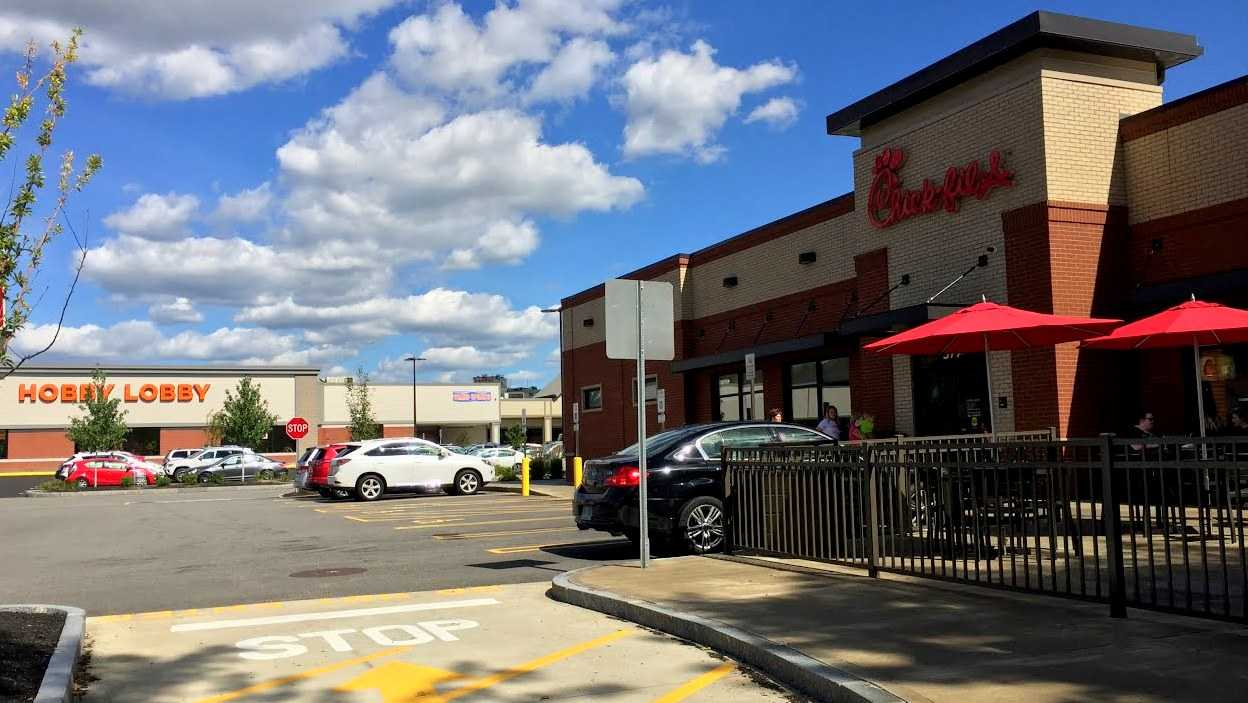 A Hobby Lobby store sits next to a Chick-Fil-A restaurant on Route 101A in Nashua, NH.