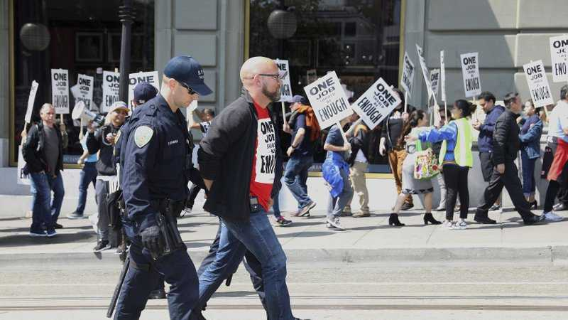San Francisco supervisor Rafael Mandelman was arrested with hotel workers in front of the J. W. Marriott's Westin St. Francis hotel on Monday, Sept. 3, 2018, in San Francisco.