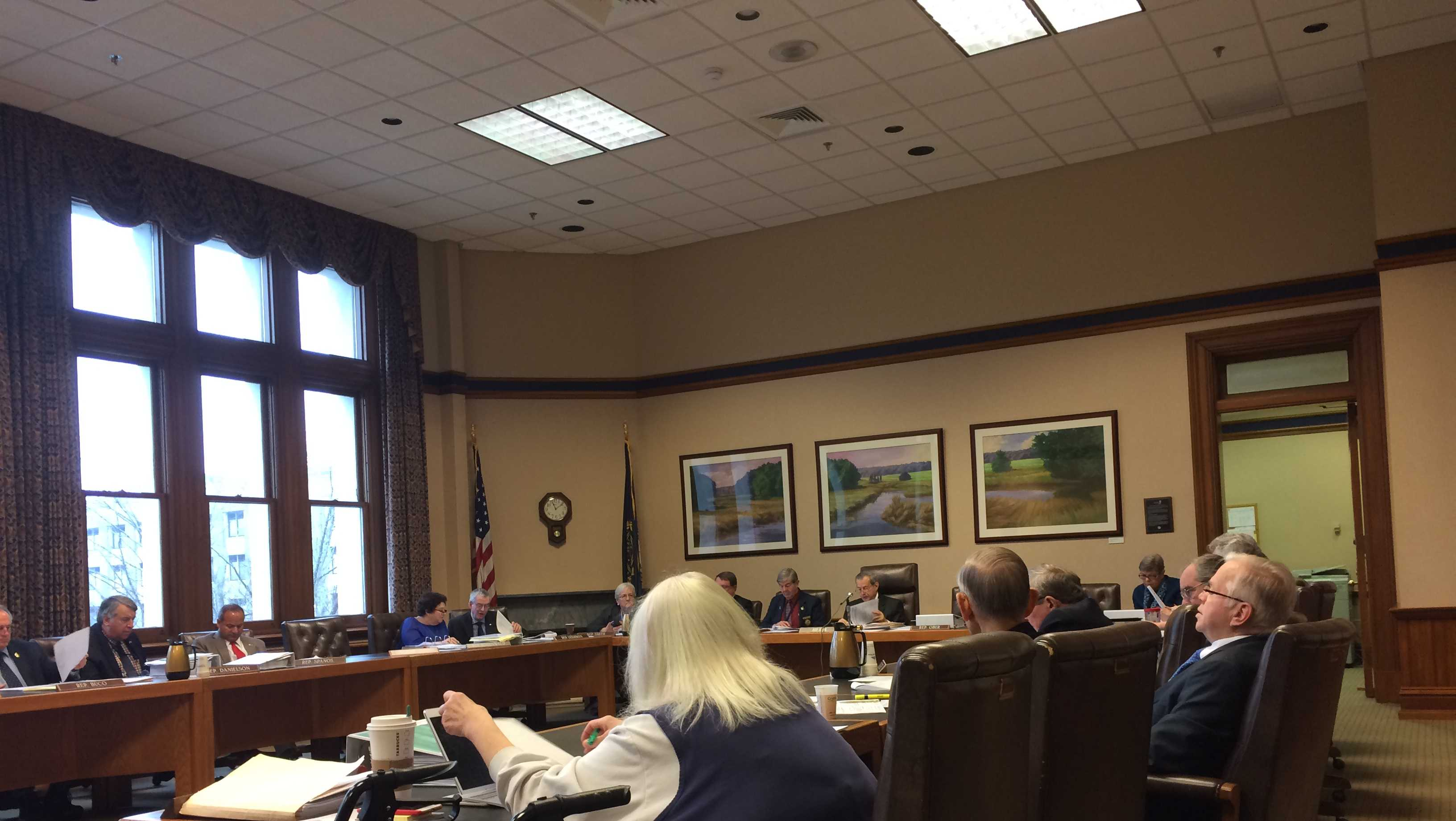 The New Hampshire House Finance Committee deliberates on a fiscal 2018-2019 state budget on Monday.