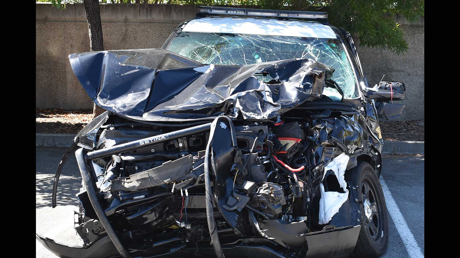 Wrecked Hollister police car