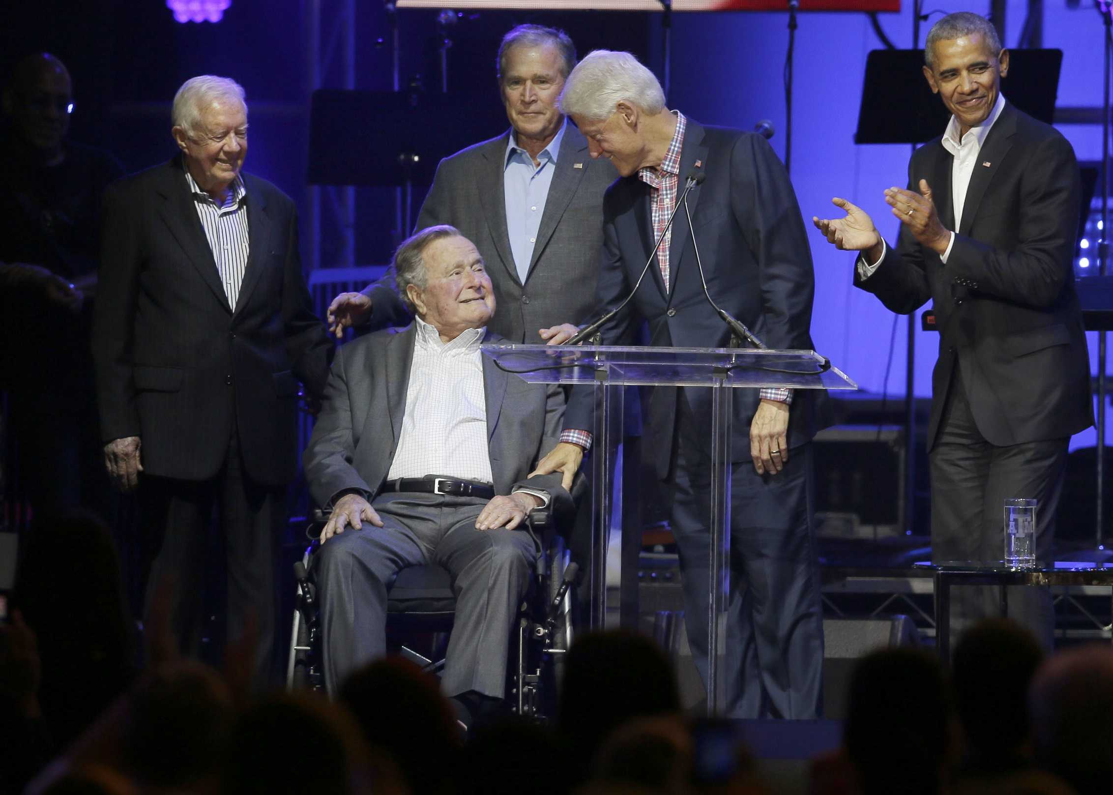 Former presidents call for unity at hurricane relief concert