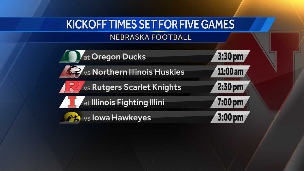 Kickoff Times Set for Five Nebraska Games