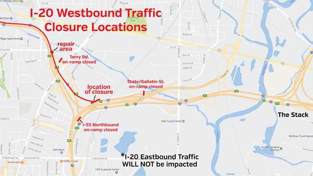 I-20 closure map