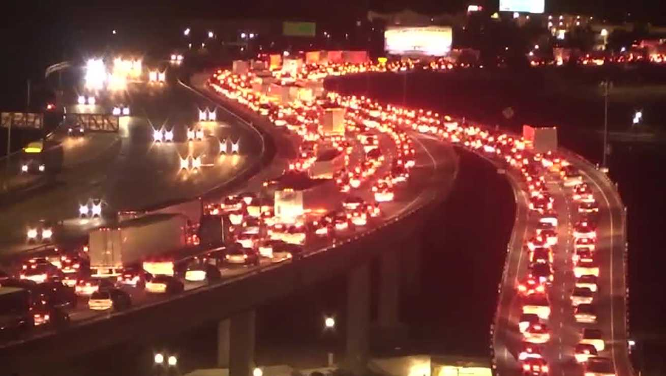 Traffic was backed up on northbound Interstate 5 after a pedestrian was hit by a vehicle on Friday, Oct. 21, 2016.
