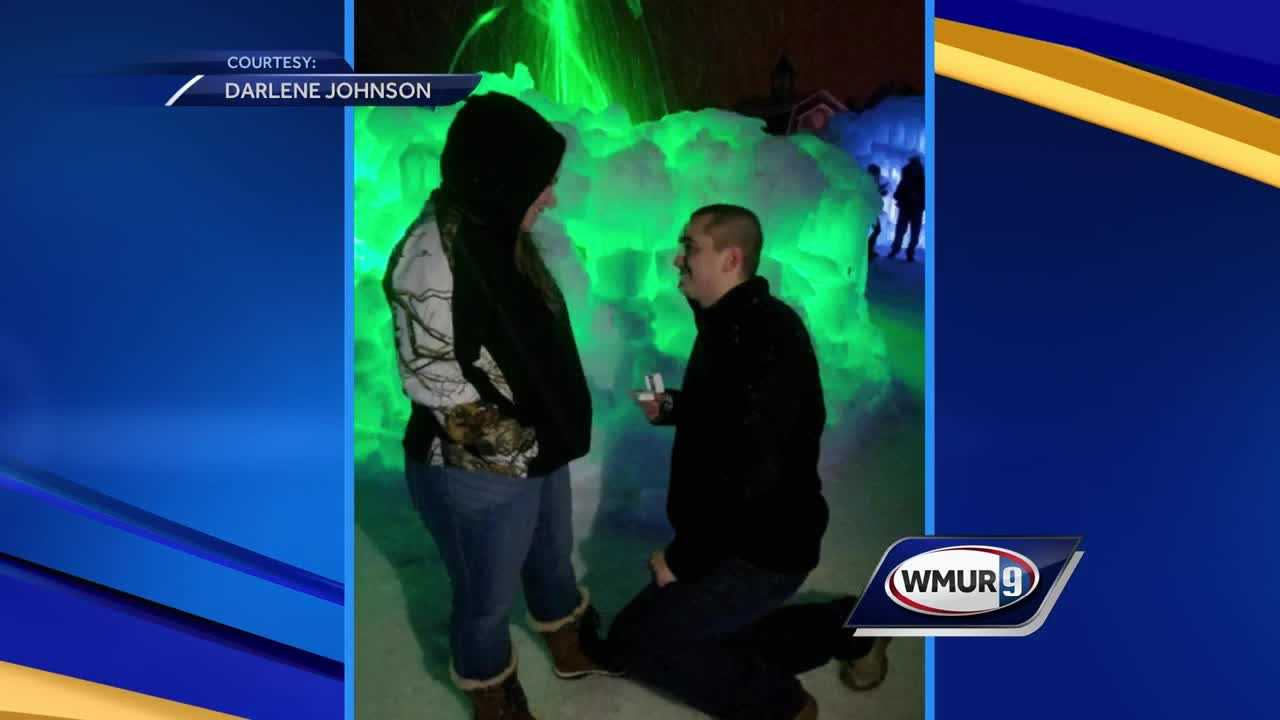 Proposal at Ice Castles