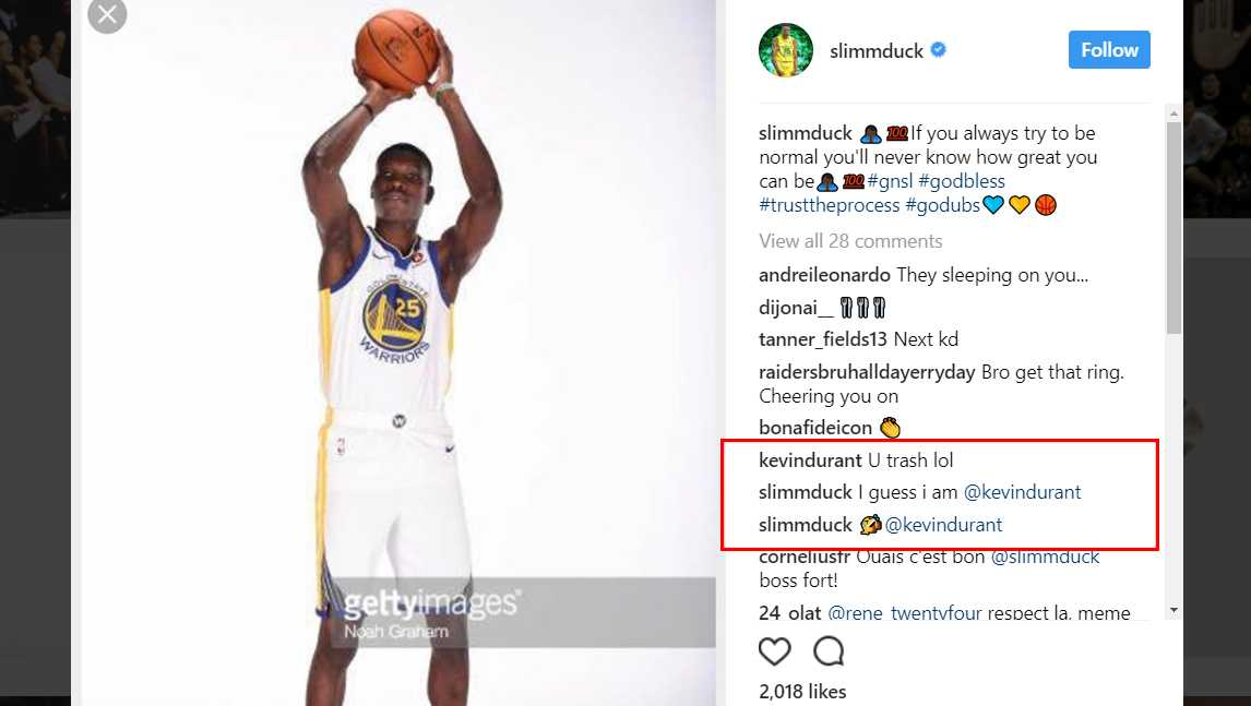 Kevin Durant has been trolling Chris Boucher on Instagram.