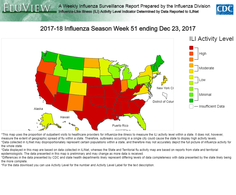 USA  states reporting widespread flu: CDC