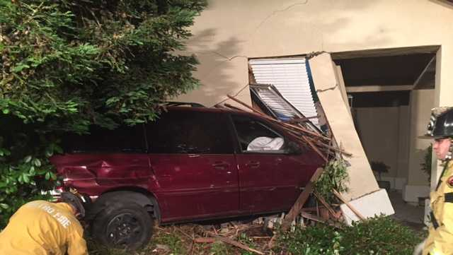 A mini-van crashed into an Antelope home on Friday, June 2, 2017.