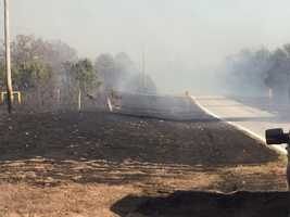 Highway 96 on the far west side of Franklin County, where the wildfire burned through
