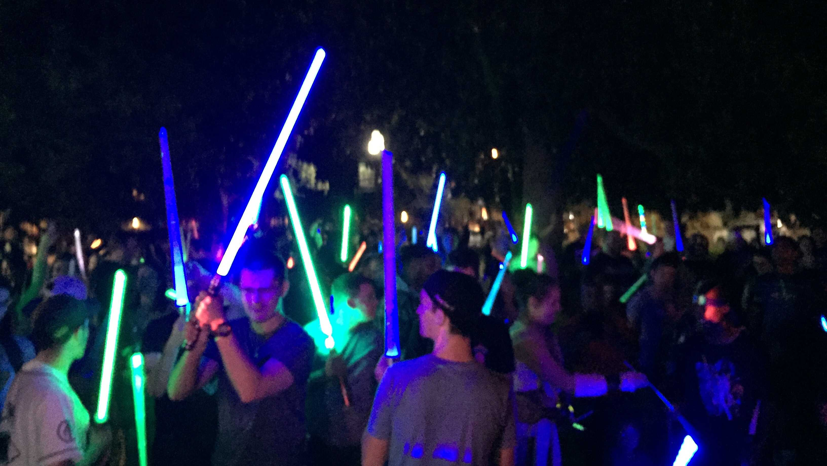 Hundreds of people faced off May 4, 2017, at Fremont Park in Sacramento for the 2nd annual light saber battle.