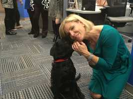 Charlie, a service dog in training, cuddles up to 11 News Today anchor Mindy Basara
