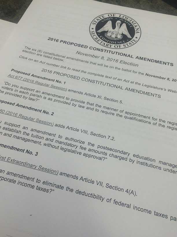 Breakdown of proposed constitutional amendments on LA ballot