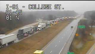 Traffic backs up on I-81