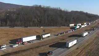 Traffic backs up on I-81