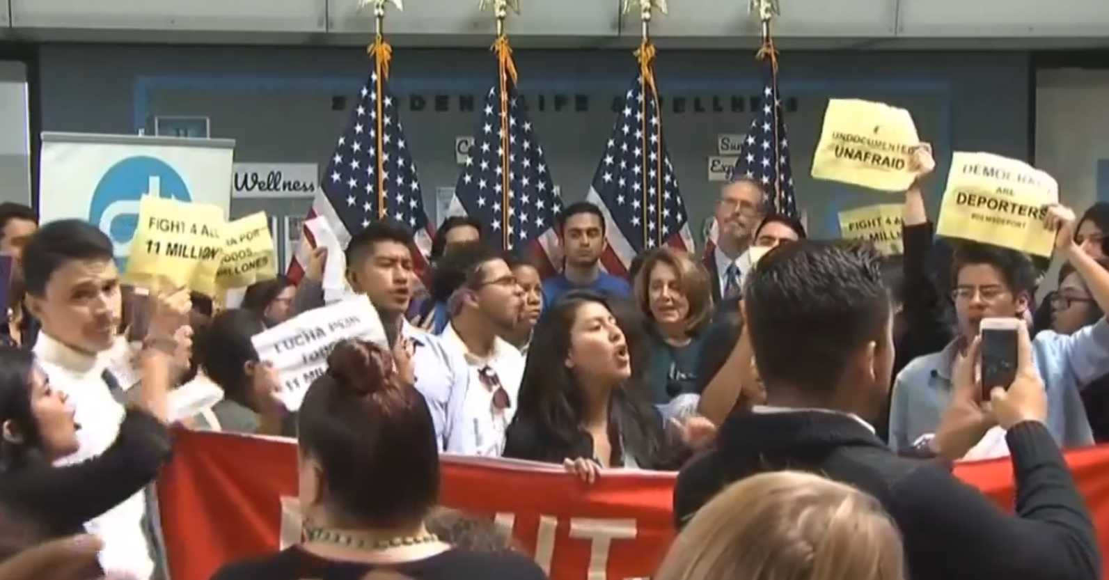 Nancy Pelosi shouted down by pro-immigration protesters in California