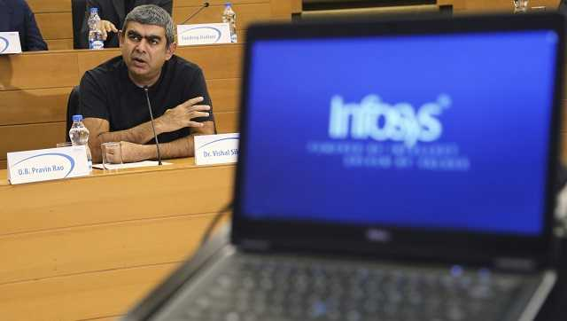 Infosys Chief Executive Officer and Managing Director Vishal Sikka speaks during a press conference after announcing the company's quarterly financial results at its headquarters in Bangalore, India, Friday, July 15, 2016.