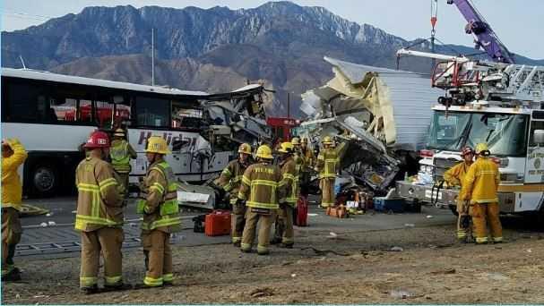 Bus crash Interstate 10 in Palm Spring