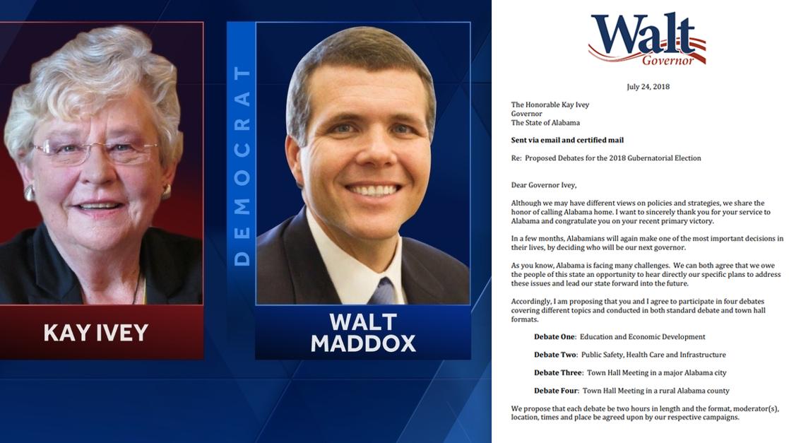Kay Ivey Walt Maddox debate challenge