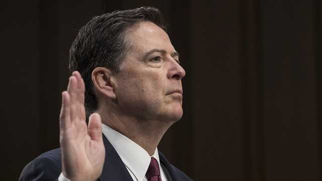 Fired FBI director James Comey is sworn in before the Senate Select Committee on Intelligence on Capitol Hill in Washington, Thursday, June 8, 2017.