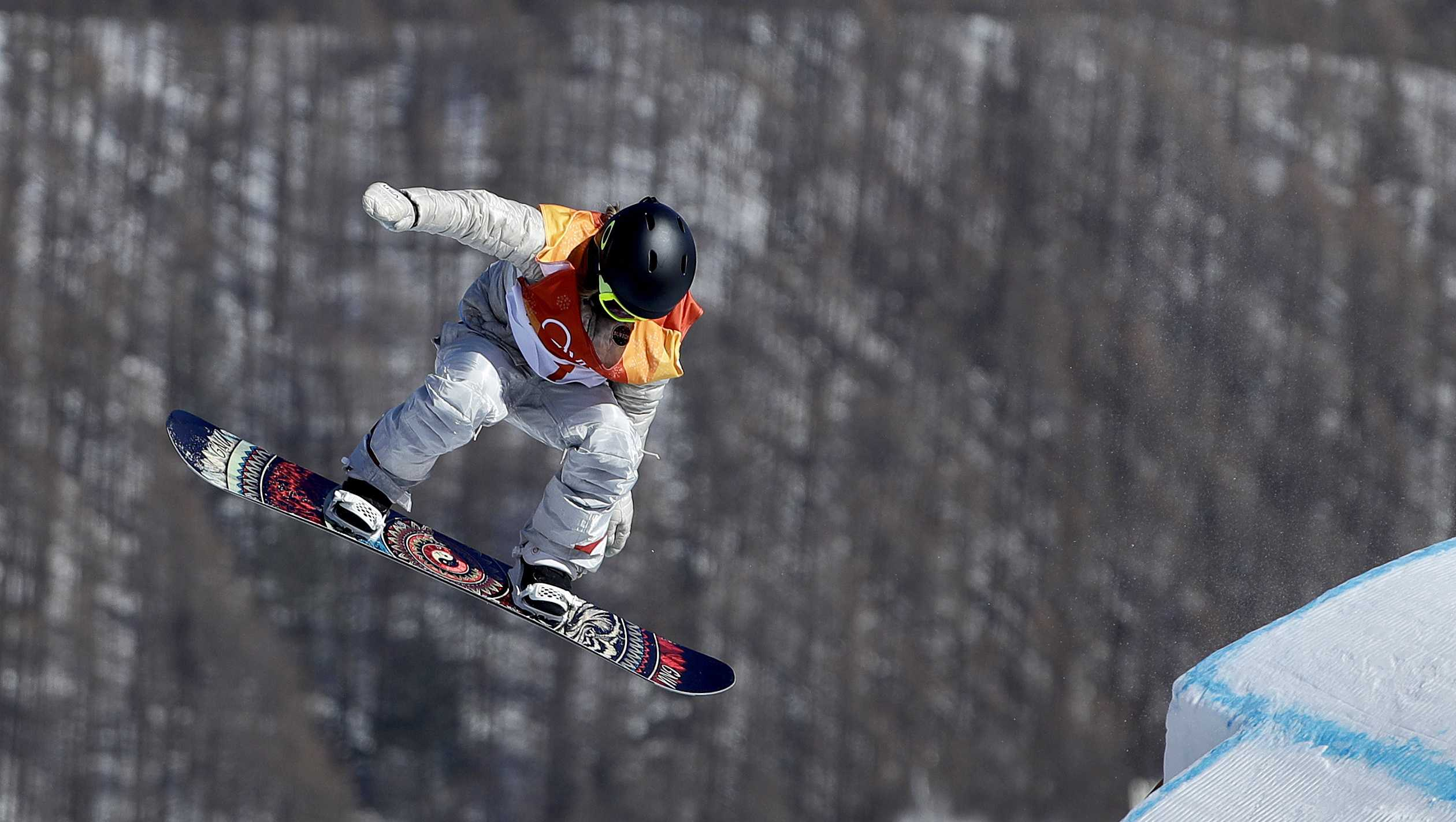 Jamie Anderson, of the United States, jumps during the women's slopestyle final at Phoenix Snow Park at the 2018 Winter Olympics in Pyeongchang, South Korea, Monday, Feb. 12, 2018.