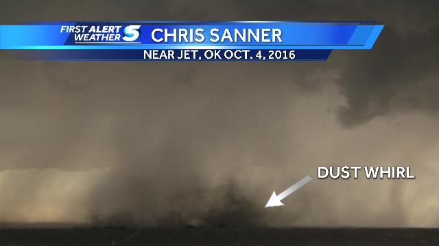 Brief tornado near Jet, Oklahoma on Oct. 4, 2016.