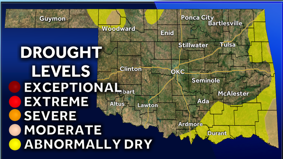 Significant improvement to the Oklahoma drought