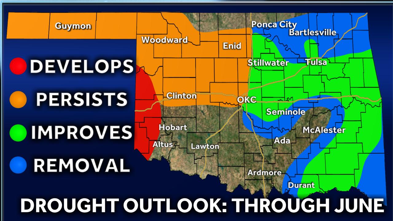 Oklahoma drought outlook through June.
